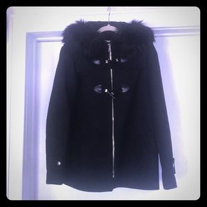 Zara black coat with faux fur trimmed hood